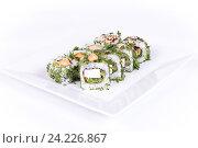 Роллы на белой тарелке. Стоковое фото, фотограф Aleksandr Ryzhov / Фотобанк Лори