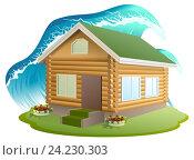 Купить «Большая волна цунами накрыла деревянный дом. Страхование недвижимости», иллюстрация № 24230303 (c) Алексей Григорьев / Фотобанк Лори