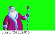 Купить «Санта-Клаус дует снег на зеленом фоне», видеоролик № 24232815, снято 17 ноября 2016 г. (c) Sergii Zarev / Фотобанк Лори
