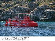 Купить «Montenegro Submarine у острова святого Николая, черногория», эксклюзивное фото № 24232911, снято 28 июля 2015 г. (c) Алексей Гусев / Фотобанк Лори