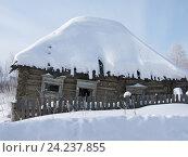 Купить «Ветхий бревенчатый дом», фото № 24237855, снято 12 марта 2013 г. (c) Юлия Мальцева / Фотобанк Лори