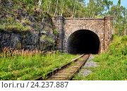 Купить «Фасад тоннеля на Кругобайкальской железной дороге. Иркутская область. Россия», фото № 24237887, снято 27 июля 2016 г. (c) Виктор Никитин / Фотобанк Лори
