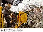 Купить «Добыча золотоносной руды под землей», фото № 24244267, снято 13 ноября 2016 г. (c) Mark Agnor / Фотобанк Лори
