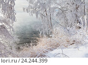 Купить «Берег Байкала в морозный день», фото № 24244399, снято 20 ноября 2016 г. (c) Виктория Катьянова / Фотобанк Лори