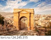 Северные ворота, древнеримский город Гераса, современный Джераш, Иордания (2013 год). Стоковое фото, фотограф Наталья Волкова / Фотобанк Лори