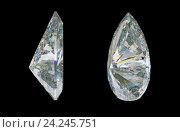 Купить «Драгоценный камень или алмаз на черном фоне. Боковой вид», иллюстрация № 24245751 (c) Арсений Герасименко / Фотобанк Лори