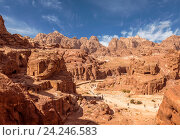 Panorama of Petra in Jordan - ancient city, capital of the Edomites , and later the capital of the Nabataean Kingdom., tourist attraction. Jordan (2015 год). Стоковое фото, фотограф Наталья Волкова / Фотобанк Лори