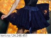 Купить «Девушка в темно-синем платье», фото № 24248451, снято 4 июня 2016 г. (c) Людмила Дутко / Фотобанк Лори