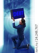 Купить «Businessman in debt business concept», фото № 24248767, снято 20 сентября 2019 г. (c) Elnur / Фотобанк Лори
