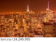 Купить «Night view of New York Manhattan during sunset», фото № 24249995, снято 20 декабря 2013 г. (c) Elnur / Фотобанк Лори