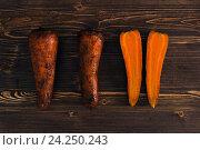 Вареная морковь на столе. Стоковое фото, фотограф Ксения Кузнецова / Фотобанк Лори