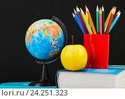 Купить «Глобус, блокнот и карандаши», фото № 24251323, снято 6 августа 2013 г. (c) Валерия Потапова / Фотобанк Лори