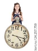 Купить «Девочка с часами, изолировано на белом фоне», фото № 24257759, снято 20 марта 2016 г. (c) Игорь Долгов / Фотобанк Лори