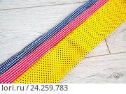 Клочки цветной ткани крупным планом. Стоковое фото, фотограф Ольга Еремина / Фотобанк Лори