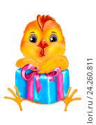 Петушок  с подарком на белом фоне. Стоковая иллюстрация, иллюстратор Татьяна Желевская / Фотобанк Лори
