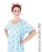 Купить «Смешная домохозяйка улыбается», фото № 24261783, снято 21 августа 2018 г. (c) Darkbird77 / Фотобанк Лори