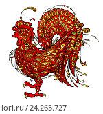 Купить «Красный декоративный петух - символ 2017 года на белом фоне», иллюстрация № 24263727 (c) Александр Павлов / Фотобанк Лори
