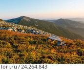 Купить «Summer morning mountain view (Carpathian, Ukraine).», фото № 24264843, снято 21 августа 2016 г. (c) Юрий Брыкайло / Фотобанк Лори