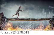 Купить «Overcome fear of failure . Mixed media», фото № 24278011, снято 17 марта 2014 г. (c) Sergey Nivens / Фотобанк Лори