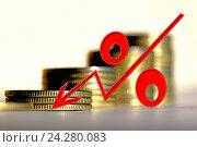 Купить «Красный знак процента на фоне денег», фото № 24280083, снято 22 октября 2016 г. (c) Сергеев Валерий / Фотобанк Лори