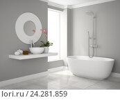 Купить «Интерьер ванной. 3D-рендеринг», иллюстрация № 24281859 (c) Hemul / Фотобанк Лори