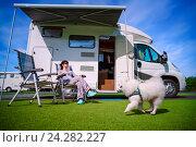 Купить «Family vacation travel, holiday trip in motorhome», фото № 24282227, снято 27 июня 2016 г. (c) Андрей Армягов / Фотобанк Лори