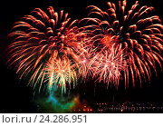 Купить «Beautiful colorful firework in a night sky», фото № 24286951, снято 13 августа 2016 г. (c) ElenArt / Фотобанк Лори