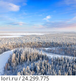 Top view of forest river in winter. Стоковое фото, фотограф Владимир Мельников / Фотобанк Лори
