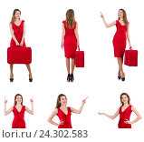 Купить «Young woman in red dress with suitcase isolated on white», фото № 24302583, снято 1 декабря 2013 г. (c) Elnur / Фотобанк Лори