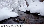 Купить «Small creek in winter snowy forest among snow banks», видеоролик № 24305431, снято 29 октября 2016 г. (c) Serg Zastavkin / Фотобанк Лори