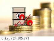 Купить «Бочка для нефти и процент на фоне денег», фото № 24305771, снято 12 февраля 2016 г. (c) Сергеев Валерий / Фотобанк Лори