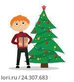 Купить «Мальчик с подарком в руках возле елки. Векторная иллюстрация.», иллюстрация № 24307683 (c) Анастасия Улитко / Фотобанк Лори