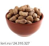 Купить «Арахис в коричневой миске  на белом фоне», фото № 24310327, снято 4 ноября 2016 г. (c) Литвяк Игорь / Фотобанк Лори