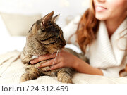 Купить «happy young woman with cat lying in bed at home», фото № 24312459, снято 15 октября 2016 г. (c) Syda Productions / Фотобанк Лори