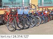 Купить «Продажа велосипедов на улице», фото № 24314127, снято 6 мая 2016 г. (c) Михаил Рудницкий / Фотобанк Лори