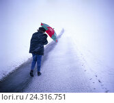 Купить «Winter, street, drifts away, woman, umbrella, back view, blizzard weather, bad weather, lonely, alone, hopelessly, way, uncertainty, snowing, go for sleet...», фото № 24316751, снято 3 апреля 2007 г. (c) mauritius images / Фотобанк Лори