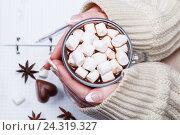 Женские руки держат ручку и чашку с какао или горячим шоколадом с зефиром. Стоковое фото, фотограф Ольга Соловьева / Фотобанк Лори