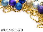 Рамка из новогодних украшений. Стоковое фото, фотограф Михаил Аникаев / Фотобанк Лори