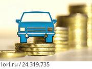 Купить «Легковой автомобиль на фоне столбиков монет », фото № 24319735, снято 12 февраля 2016 г. (c) Сергеев Валерий / Фотобанк Лори