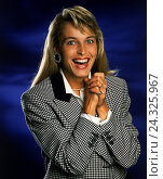 Купить «Woman, laugh young, gesture, joy, enthusiasm, half portrait, blond, long-haired, sports jacket, mood rejoice positively, emotion, happy, expectantly, pleased, studio,», фото № 24325967, снято 22 июля 2018 г. (c) mauritius images / Фотобанк Лори
