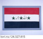Купить «Flag, Iraq, the Near East, flag, cut out, product photography, national colours», фото № 24327815, снято 22 сентября 2018 г. (c) mauritius images / Фотобанк Лори