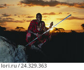 Купить «Kenya, Massai, warrior, sundown man, dark-skinned, non-white, Massai, tribe, rock, crouch, squat, spear, evening, evening mood, steppe, tribe, in African way, Masai, shepherd's people, nomad», фото № 24329363, снято 21 июля 2018 г. (c) mauritius images / Фотобанк Лори