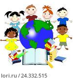 Дети разных рас с книгами и карта мира, концепция образования, Иллюстрация. Стоковая иллюстрация, иллюстратор Бережная Татьяна / Фотобанк Лори