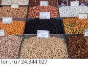 Купить «Nuts and legumes, market, Athen, Greece», фото № 24344027, снято 19 сентября 2018 г. (c) mauritius images / Фотобанк Лори