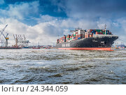 Купить «Germany, Hamburg, the Elbe, fish market, harbour, container terminal, container ship, container, tug, tugboat», фото № 24344059, снято 19 января 2019 г. (c) mauritius images / Фотобанк Лори