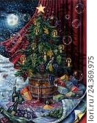 Купить «Christmas tree with grapes», иллюстрация № 24369975 (c) mauritius images / Фотобанк Лори
