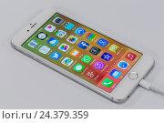 Купить «Apple iPhone 6 plus, Lightning Connector USB cable, display, Apps, programs, multi-touch function,», фото № 24379359, снято 19 августа 2018 г. (c) mauritius images / Фотобанк Лори