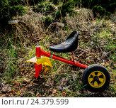 Купить «old children's tricycle», фото № 24379599, снято 17 августа 2018 г. (c) mauritius images / Фотобанк Лори