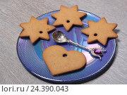 Купить «Печенье и ложка на десертной тарелке», эксклюзивное фото № 24390043, снято 7 декабря 2016 г. (c) Яна Королёва / Фотобанк Лори