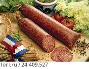 Купить «French sausage, salami, salads, cucumbers, bread, in accordance with. Originator, smoked sausage spread, (?), France, sausage, food, eat, near,», фото № 24409527, снято 19 июня 1995 г. (c) mauritius images / Фотобанк Лори